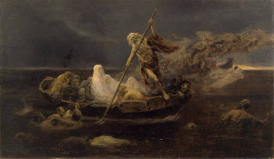 Charon Painting - Charons Boat by Jose Benlliure