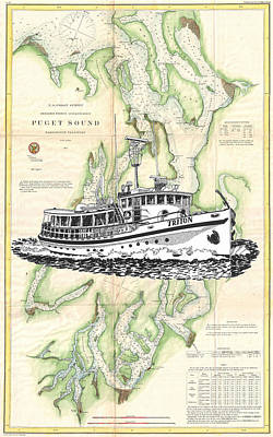 Painting - Yacht Art On A Puget Sound Chart by Jack Pumphrey
