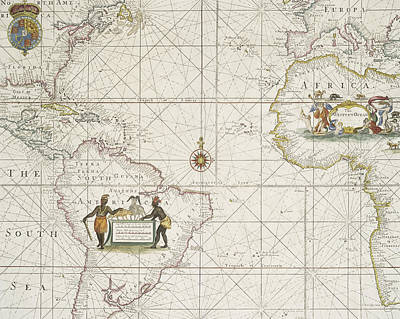 Africa Drawing - Chart Of The Atlantic Ocean by English School