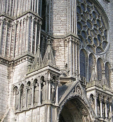 Chartre Painting - Chartres Cathedrale Detail 1 by Christian Simonian