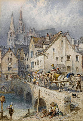 Drawing - Chartres by Myles Birket Foster