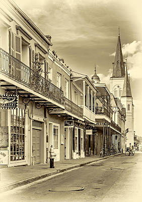 Jackson Square Photograph - Chartres St In The French Quarter 2 - Sepia by Steve Harrington