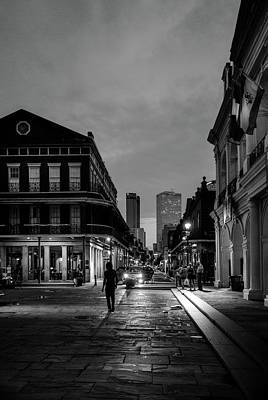 Dramatic Photograph - Chartres Street From Jackson Square In Black And White by Chrystal Mimbs