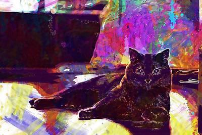 Digital Art - Chartreux Cat Animals Pet Mieze  by PixBreak Art