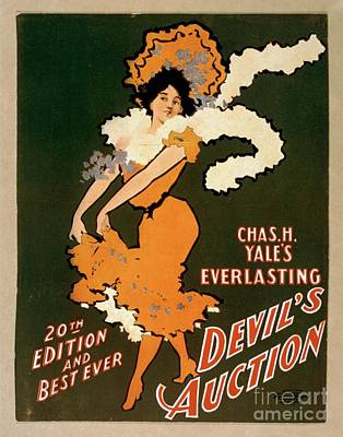 Painting - Chas H Yales Everlasting Devils Auction Vintage Entertainment Poster by R Muirhead Art