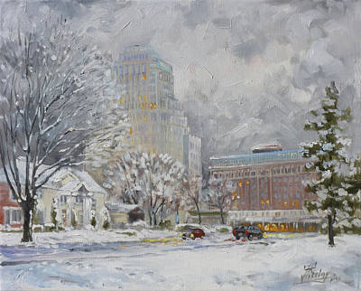Painting - Chase Park Plaza In Winter, St.louis by Irek Szelag