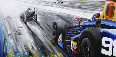 Indy Car Painting - Chasing 100 by Kelly Bremer