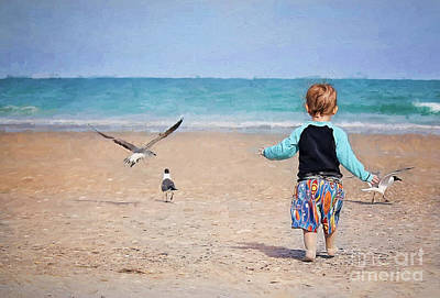Little Girl On Beach Wall Art - Photograph - Chasing Birds On The Beach by Sharon McConnell