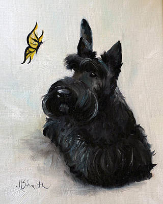 Scottish Terrier Painting - Chasing Butterflies by Mary Sparrow