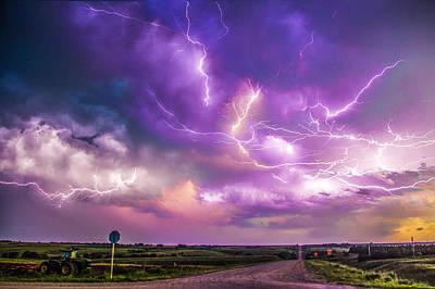 Chasing Nebraska Lightning 056 Art Print