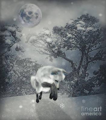 Snowy Night Digital Art - Chasing Snowflakes by KaFra Art