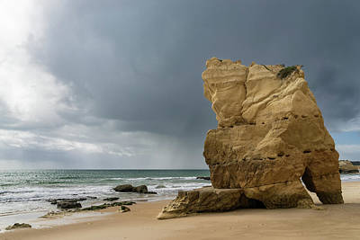 Photograph - Chasing Storms On The Beach In Algarve Portugal by Georgia Mizuleva