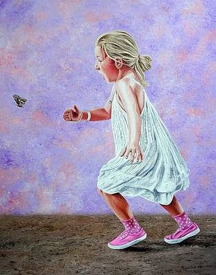 Painting - Chasing The Butterfly  by Rezzan Erguvan-Onal