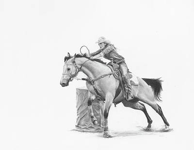 Rodeo Art Drawing - Chasing The Cans by Cindy Nowotny