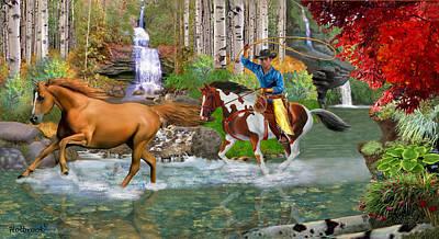Four-legged Friends Digital Art - Chasing The Golden Stallion by Glenn Holbrook