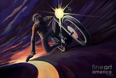 Cafe Wall Art - Painting - Chasing The Line Speed Racer by Sassan Filsoof