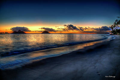 Photograph - Chasing The Night Off Lanikai Beach Sunrise Hawaii Collection Art  by Reid Callaway