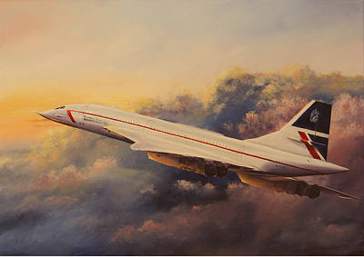 Airways Painting - Chasing The Sunset by Davansa Paintings
