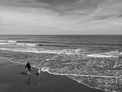 Photograph - Chasing The Tide In Black And White by Joan-Violet Stretch