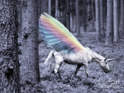 Unicorn Mixed Media - Chasing The Unicorn by Emanuela Carratoni