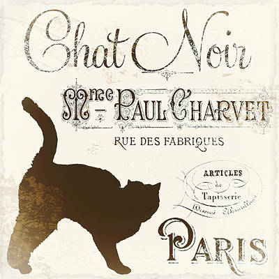 Cute Cat Painting - Chat Noir Paris by Mindy Sommers