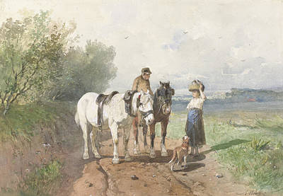Mauve Painting - Chat On A Country Road by Anton Mauve