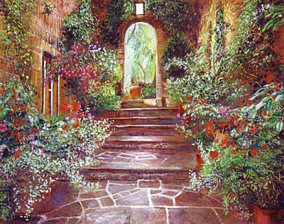 Chateau Courtyard Steps Art Print