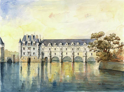 Chateau Wall Art - Painting - Chateau De Chenonceau by Juan Bosco