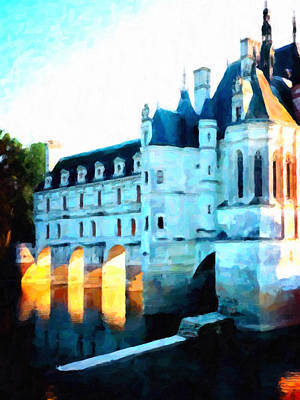 Medieval Style Painting - Chateau De Chenonceau by Lanjee Chee