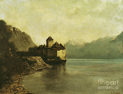 Peaceful Landscape Painting - Chateau De Chillon by Gustave Courbet