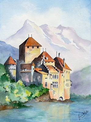 Leman Painting - Chateau De Chillon In Switzerland by Jean White