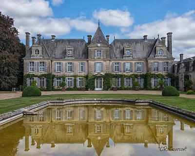 Photograph - Chateau De Curzay Reflection by CR  Courson