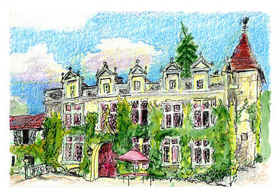 Print featuring the painting Chateau De Maumont by Tilly Strauss