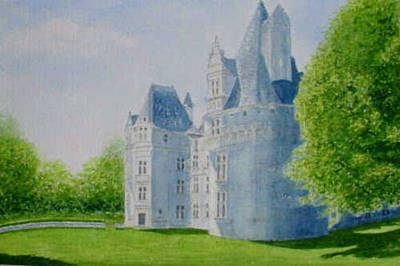 Painting - Chateau De Puyguilhem, Dordogne by Peter Farrow