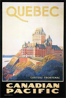 Quebec Painting - Chateau Frontenac Luxury Hotel In Quebec, Canada - Vintage Travel Advertising Poster by Studio Grafiikka