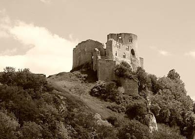 Photograph - Chateau Gaillard Castle, Monochrome  by Gordon Beck