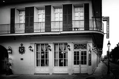 Chateau Hotel In Black And White Art Print