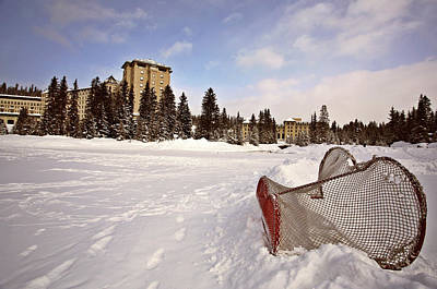 Street Hockey Digital Art - Chateau Lake Louise In Winter In Alberta Canada by Mark Duffy