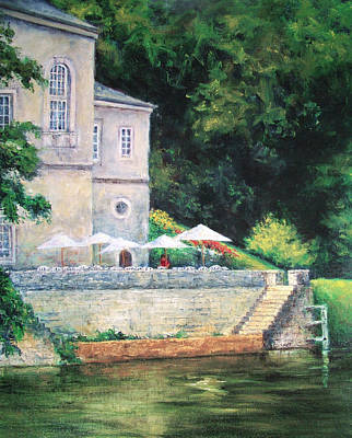 Chateau On The Lot River Art Print