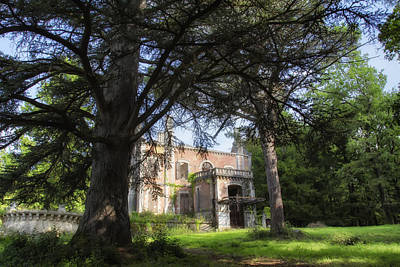 The Haunted Mansion Photograph - Chateau Through The Trees by Georgia Fowler