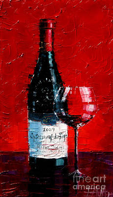 Red Art Painting - Still Life With Wine Bottle And Glass I by Mona Edulesco