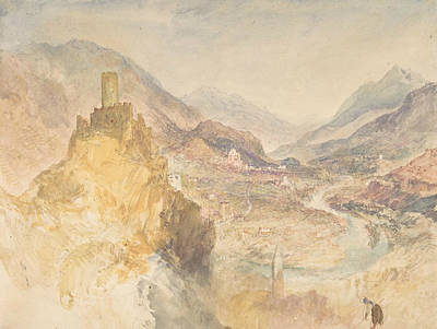 Painting - Chatel Argent And The Val D'aosta From Above Villeneuve by Joseph Mallord William Turner