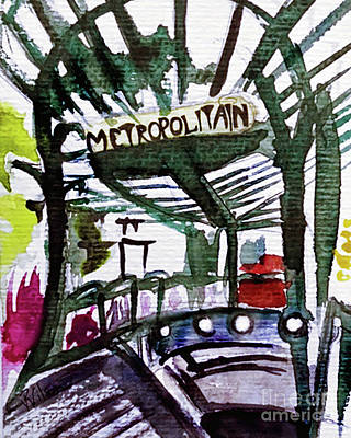 Painting - Chatelet Paris Metro Watercolor Sketch by D Renee Wilson