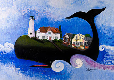 Chatham Lighthouse Painting - Chatham - A Whale Of A Town by Theresa LaBrecque
