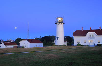 Photograph - Chatham Lighthouse Moonset by John Burk