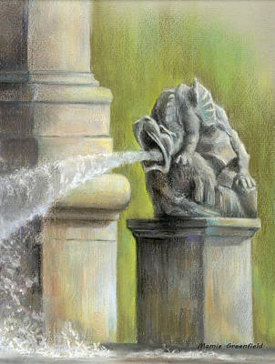 Pastel - Chatsworth Gargoyle by Mamie Greenfield