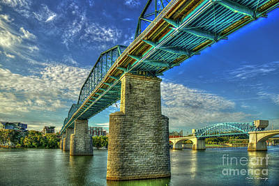 Photograph - Chattanooga Bridge Brothers Walnut Street Pedestrian Bridge John Ross Market Street Bridge Art by Reid Callaway