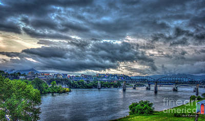 Photograph - Chattanooga Panorama Lookout Mountain Sunset Art by Reid Callaway