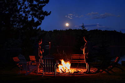 Rhinelander Photograph - Chatting By The Campfire Under The Full Moon by Dale Kauzlaric