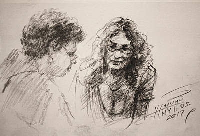 Cafes Drawing - Chatting by Ylli Haruni